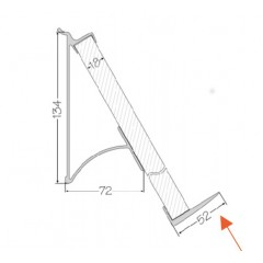 Zavesny system AL listovy - podpera 230mm k poličke na knihu