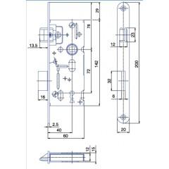 Zámok K6072/40/20mm   HOBES K-103 Zn P/L
