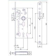 Zamok V6072/40/20mm   HOBES K-106A na posuvné dvere