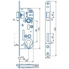 Zámok V6090/40/20mm   HOBES 02-04 Zn P/Ľ