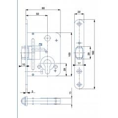 Zamok V80    /50/22mm   HOBES 2784 valčekový