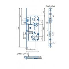 Zamok V7672/55/20mm L   HOBES K221