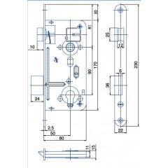 Zámok V8090/50/20mm   HOBES 24026 ZnB P/Ľ