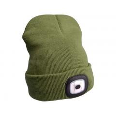 Čiapka s čelovým svetlom zelená