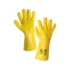 Rukavice TEKPLAST, kyselinovzdorné, žlté, v.10