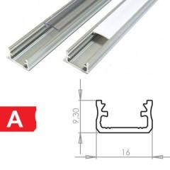 Profil na LED pásik typ A na vrch hliník 2m 9,3x16 mm