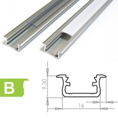 Profil na LED pásik typ B na zafr. hliník 2m 9,3x16 mm