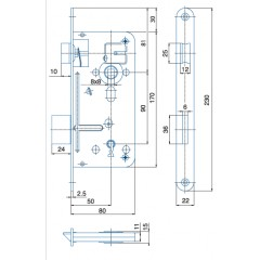 Zámok K8090/50/20mm   HOBES 536A Zn P/Ľ