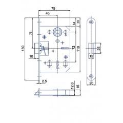 Zámok K75/72/45mm   HOBES K-051 Zn P/Ľ
