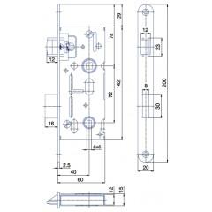 Zamok WC6072/40/20mm   HOBES K-111 P/Ľ