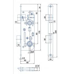 Zamok WC6090/40/20mm 6x6mm   HOBES 01-16 ZnB P/Ľ